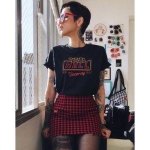 Vtg 90s UO faux wrap skirt skirt Lg plaid red
